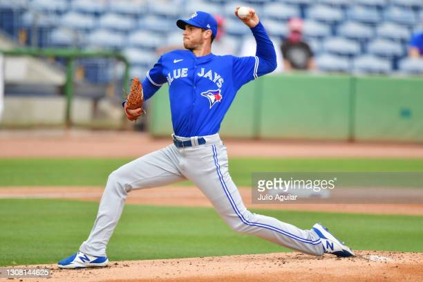 Steven Matz of the Toronto Blue Jays delivers a pitch in the first inning against the Philadelphia Phillies during a spring training game on March...