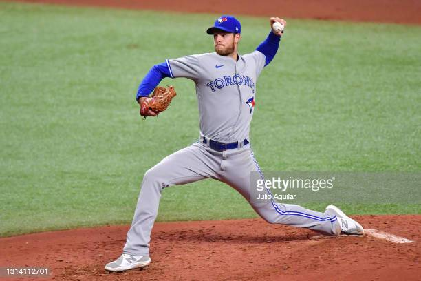 Steven Matz of the Toronto Blue Jays delivers a pitch in the fourth inning against the Tampa Bay Rays at Tropicana Field on April 23, 2021 in St...