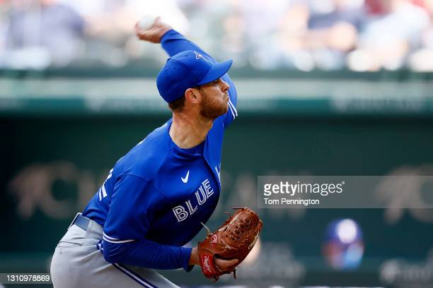 Steven Matz of the Toronto Blue Jays pitches against the Texas Rangers in the bottom of the first inning on Opening Day at Globe Life Field on April...