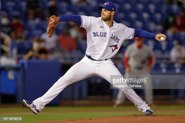 Steven Matz of the Toronto Blue Jays throws a pitch during the first inning against the Los Angeles Angels at TD Ballpark on April 10, 2021 in...