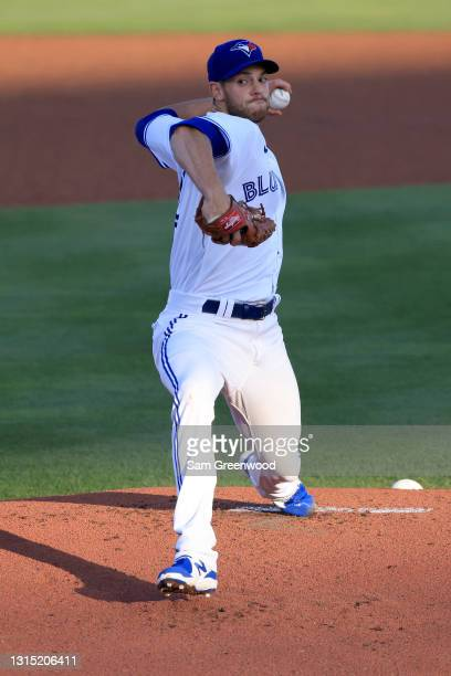 Steven Matz of the Toronto Blue Jays throws during the first inning against the Washington Nationals at TD Ballpark on April 28, 2021 in Dunedin,...