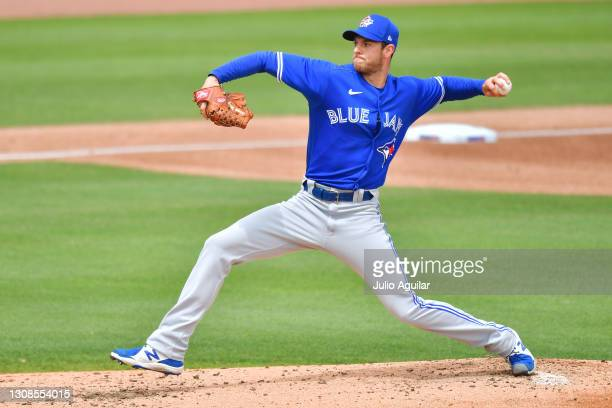 Steven Matz of the Toronto Blue Jays warms up before the bottom of the second inning against the Philadelphia Phillies during a spring training game...
