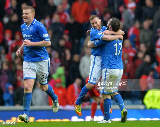 Steven May and Patrick Gregg of St Johnstone celebrate their teams famous win during the William Hill Scottish Cup Semi Final between St Johnstone...