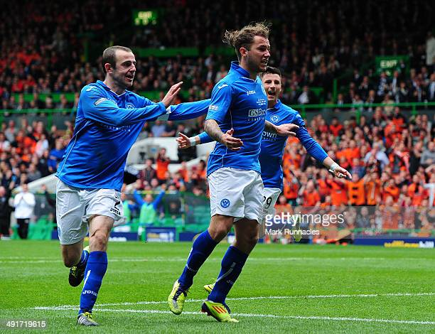 Steven May of St Johnstone celebrates scoring with his team mate, only to have the goal chopped off for handball during The William Hill Scottish Cup...
