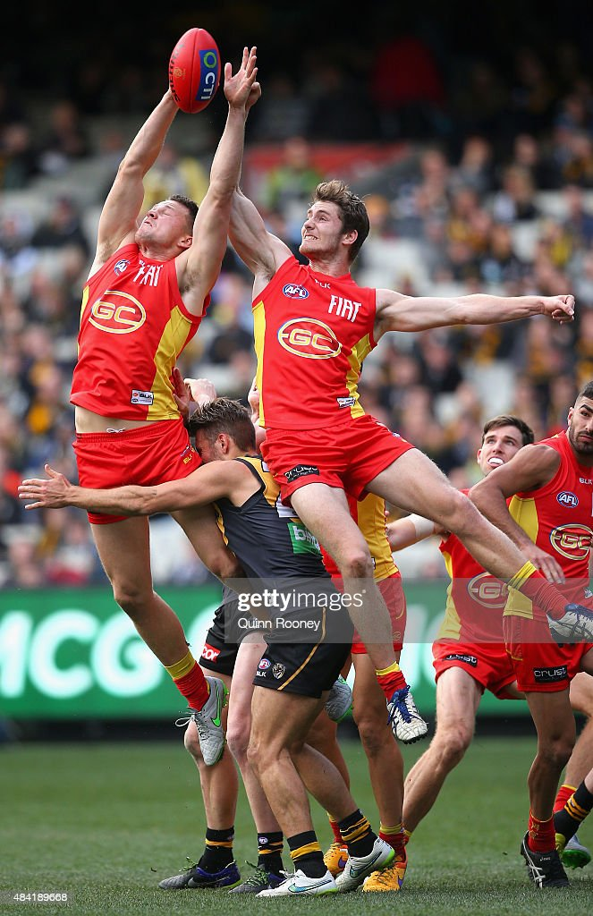Steven May of the Suns marks during the round 20 AFL match between the Richmond Tigers and the Gold Coast Suns at Melbourne Cricket Ground on August 16, 2015 in Melbourne, Australia.