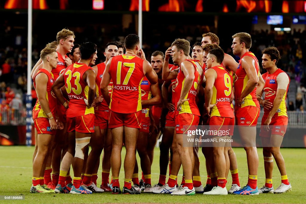 Steven May of the Suns speaks to the huddle at the main break during the round four AFL match between the West Coast Eagles and the Gold Coast Suns at Optus Stadium on April 14, 2018 in Perth, Australia.