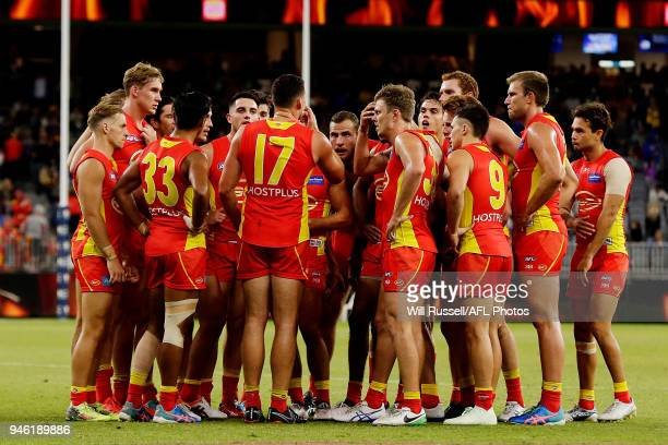 Steven May of the Suns speaks to the huddle at the main break during the round four AFL match between the West Coast Eagles and the Gold Coast Suns...