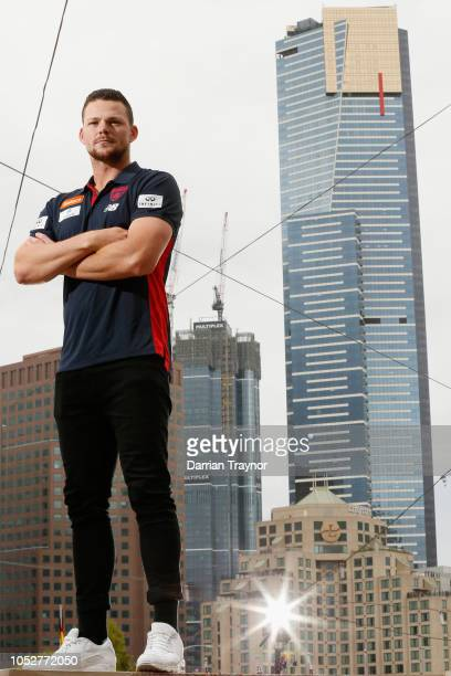 Steven May poses for a photo after a Melbourne Demons AFL media opportunity at Federation Square on October 23 2018 in Melbourne Australia