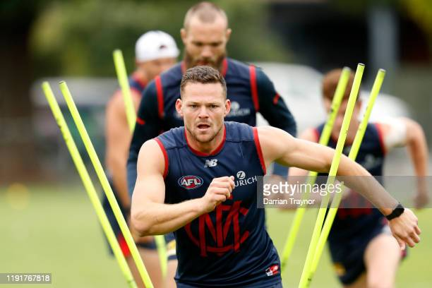 Steven May runs during a Melbourne Demons AFL training session at Gosch's Paddock on December 04 2019 in Melbourne Australia