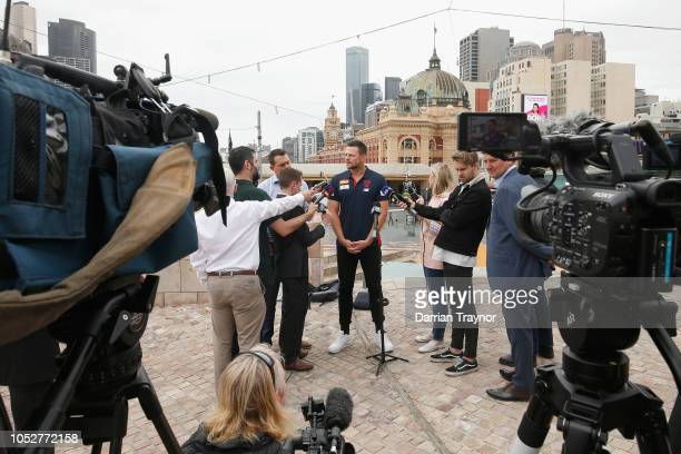 Steven May speaks to the media during a Melbourne Demons AFL media opportunity at Federation Square on October 23 2018 in Melbourne Australia