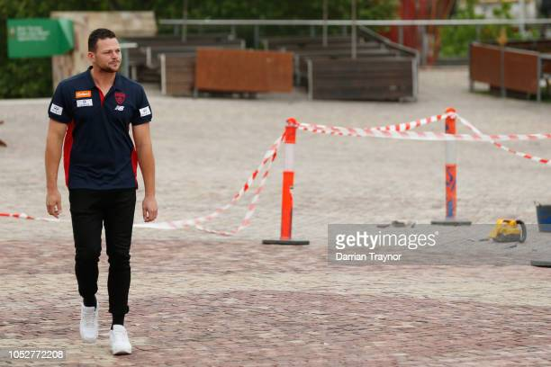 Steven May walks through Federation Sqaure to speak to the media during a Melbourne Demons AFL media opportunity at Federation Square on October 23...
