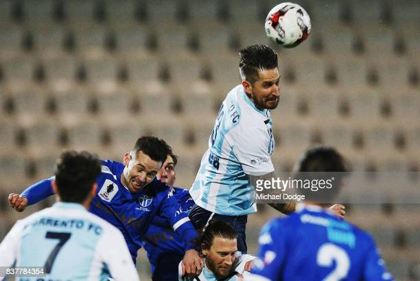 Steven McDonald of Sorrento heads the ball during the FFA Cup round of 16 match between between South Melbourne FC and Sorrento FC at Lakeside...