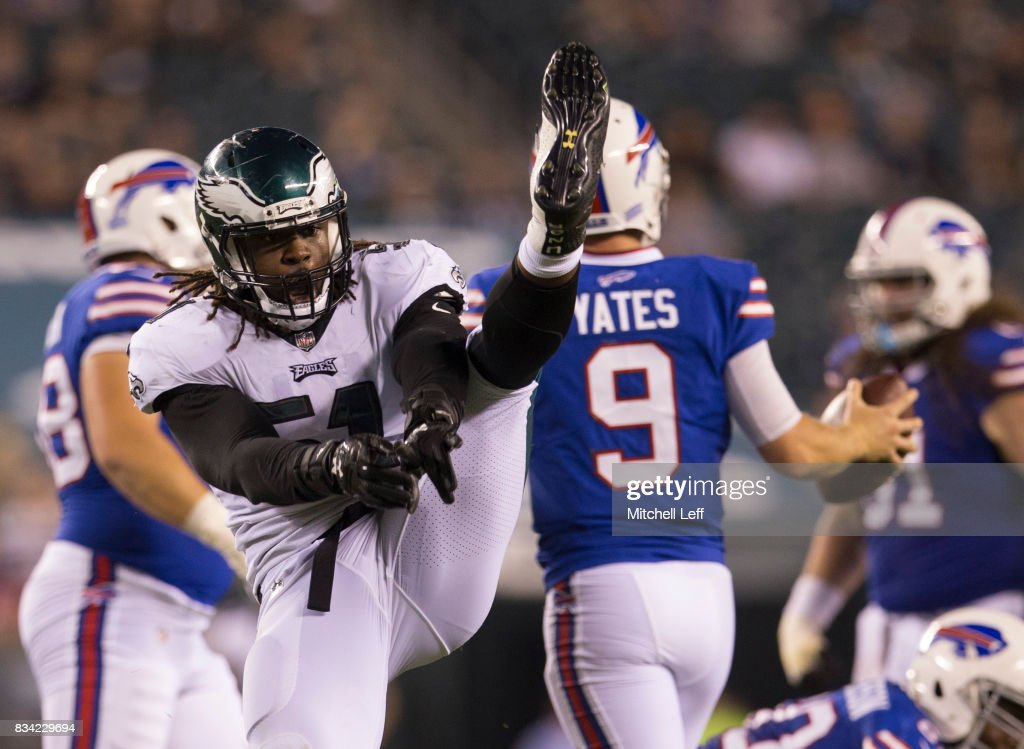 Steven Means #51 of the Philadelphia Eagles reacts after a sack against T.J. Yates #9 of the Buffalo Bills in the fourth quarter of the preseason game at Lincoln Financial Field on August 17, 2017 in Philadelphia, Pennsylvania. The Eagles defeated the Bills 20-16.