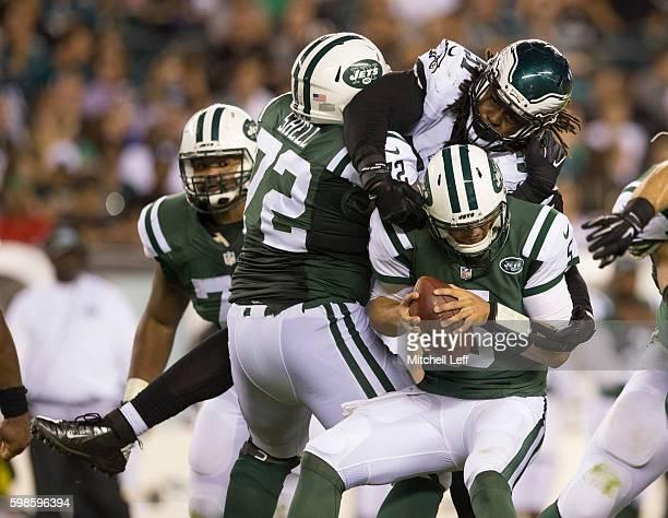 Steven Means of the Philadelphia Eagles sacks Christian Hackenberg of the New York Jets in the second quarter at Lincoln Financial Field on September...