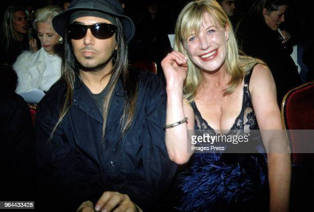 Steven Meisel and Marianne Faithfull at a Marc Jacobs fashion show circa 1995 in New York City.