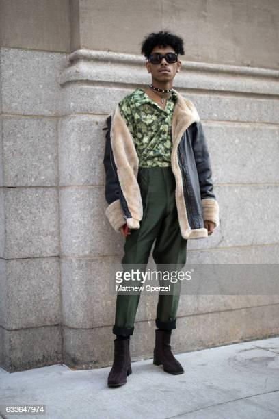 Steven Melo is seen attending Palomo Spain while wearing Palomo Spain on February 2 2017 in New York City