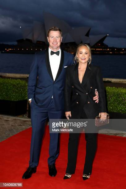Steven Menzies and his wife Suyin Condon arrives at the 2018 Dally M Awards at Overseas Passenger Terminal on September 26 2018 in Sydney Australia