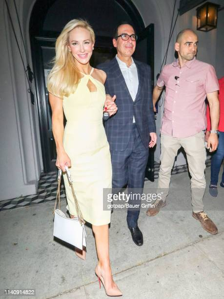 Steven Mnuchin and Louise Linton are seen on May 02, 2019 in Los Angeles, California.