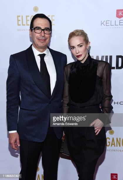 Steven Mnuchin and Louise Linton arrive at the 2019 WildAid Gala at the Beverly Wilshire Four Seasons Hotel on November 09, 2019 in Beverly Hills,...