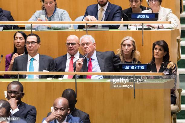 Steven Mnuchin HR McMaster Rex Tillerson and Nikki Haley at the General Assembly at the United Nations in New York City