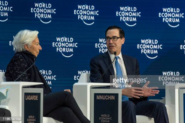 Steven Mnuchin United States secretary of the treasury addresses a panel during the World Economic Forum in Davos On the left sits Christine Lagarde...