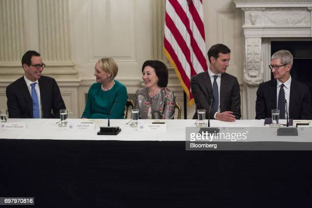 Steven Mnuchin US Treasury secretary from left Julie Sweet chief executive officer of North America at Accenture PLC Safra Catz cochief executive...