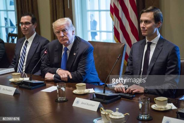 Steven Mnuchin US Treasury secretary from left US President Donald Trump and Jared Kushner senior White House adviser listen during a bilateral...
