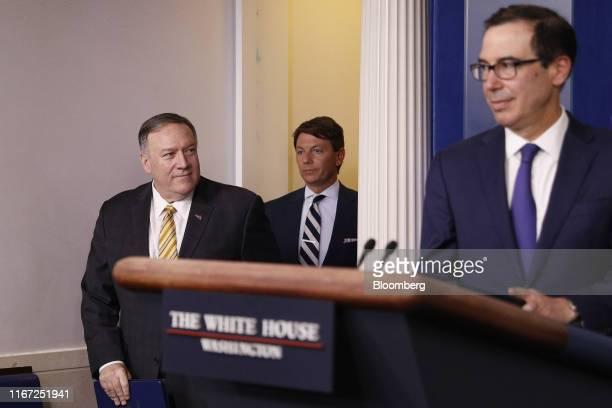 Steven Mnuchin US Treasury secretary from right Mike Pompeo US secretary of state and Hogan Gidley White House deputy press secretary arrive for a...