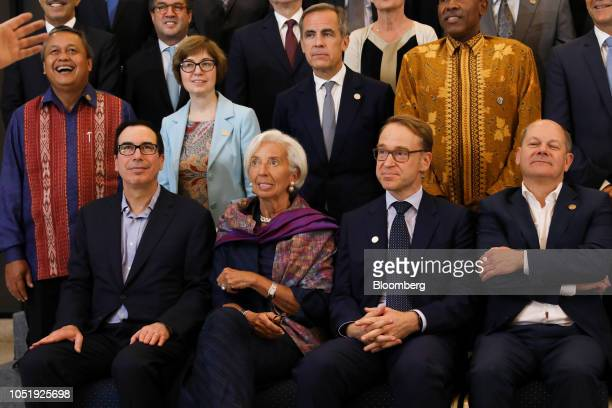 Steven Mnuchin US Treasury secretary front row from left Christine Lagarde managing director of the International Monetary Fund Jens Weidmann...