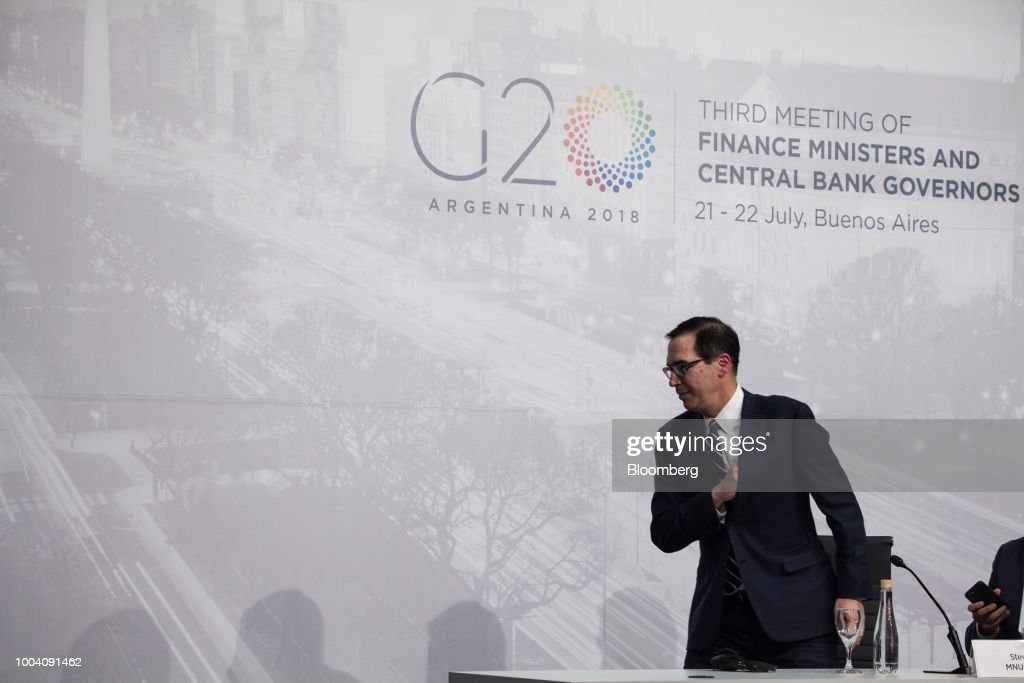 Steven Mnuchin, U.S. Treasury secretary, leaves after a news conference during the G-20 finance ministers and central bankers meetings in Buenos Aires, Argentina, on Sunday, July 22, 2018. Mnuchin said that there is no chance of a currency war erupting despite U.S. President Donald Trump tweets.