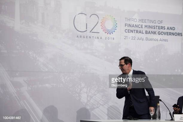 Steven Mnuchin US Treasury secretary leaves after a news conference during the G20 finance ministers and central bankers meetings in Buenos Aires...
