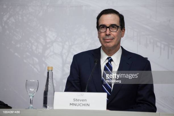 Steven Mnuchin US Treasury secretary listens at a news conference during the G20 finance ministers and central bankers meetings in Buenos Aires...
