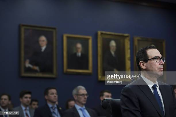 Steven Mnuchin US Treasury secretary listens during a House Appropriations Subcommittee hearing on the fiscal year 2019 budget in Washington DC US on...