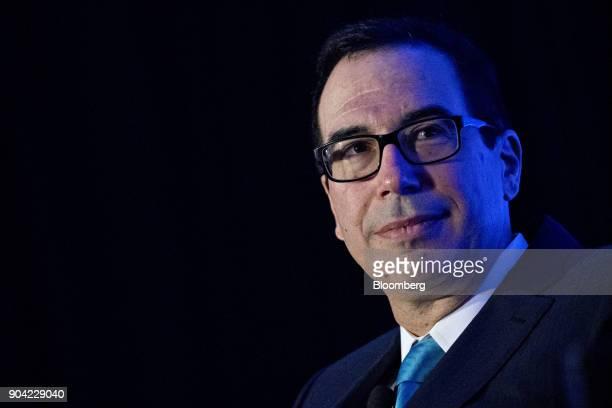 Steven Mnuchin US Treasury secretary listens to a question during an Economic Club of Washington conversation in Washington DC US on Friday Jan 12...