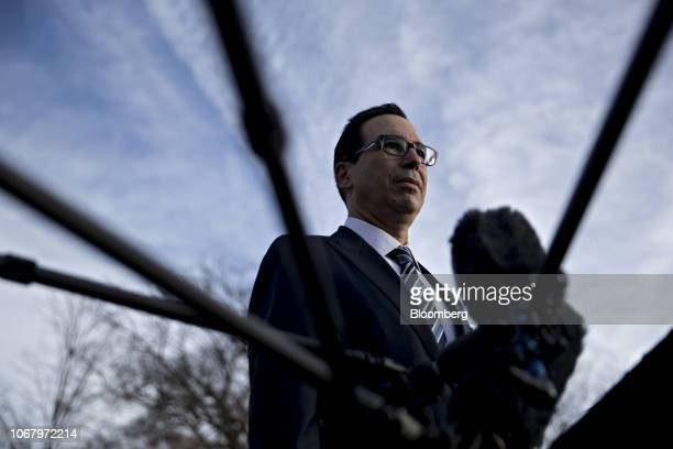 Steven Mnuchin US Treasury secretary listens to a question while speaking to members of the media outside the White House in Washington DC US on...