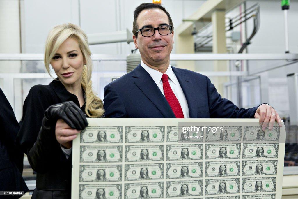 Treasury Secretary Mnuchin Views Production Of Currency Bearing His Signature