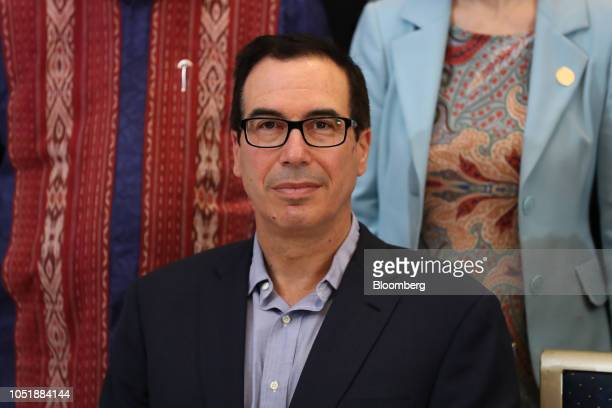 Steven Mnuchin US Treasury secretary sits during the family photo during the G20 finance ministers and central bankers meetings on the sidelines of...