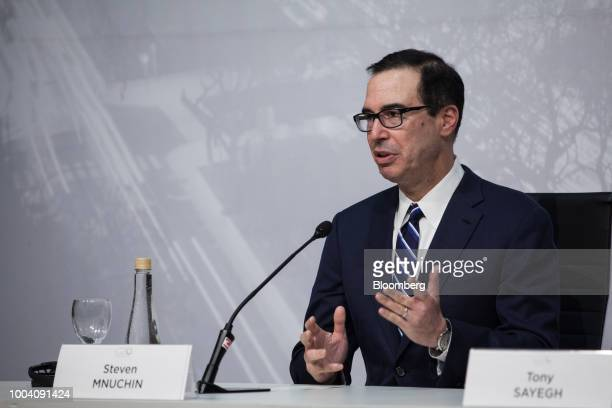 Steven Mnuchin US Treasury secretary speaks at a news conference during the G20 finance ministers and central bankers meetings in Buenos Aires...