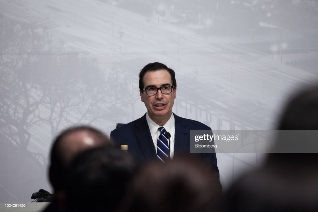 Steven Mnuchin, U.S. Treasury secretary, speaks at a news conference during the G-20 finance ministers and central bankers meetings in Buenos Aires, Argentina, on Sunday, July 22, 2018. Mnuchin said that there is no chance of a currency war erupting despite U.S. President Donald Trump tweets.
