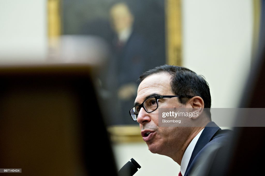 Steven Mnuchin, U.S. Treasury secretary, speaks during a House Financial Services Committee hearing in Washington, D.C., U.S., on Thursday, July 12, 2018. Mnuchin said U.S. tariffs and retaliation by major trading partners haven't dented the domestic economy, as he sought to calm fears from Republicans in Congress that a trade war is hurting American consumers and companies. Photographer: Andrew Harrer/Bloomberg via Getty Images