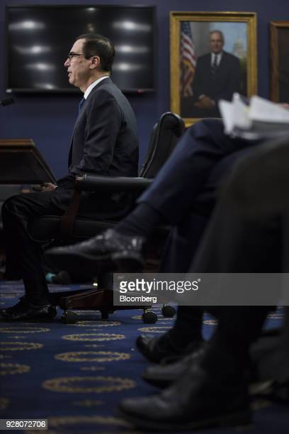 Steven Mnuchin US Treasury secretary speaks during a House Appropriations Subcommittee hearing on the fiscal year 2019 budget in Washington DC US on...