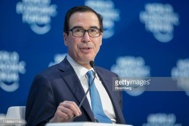 Steven Mnuchin US Treasury secretary speaks during a panel session on the closing day of the World Economic Forum in Davos Switzerland on Friday Jan...