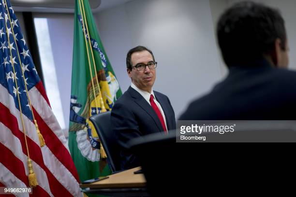 Steven Mnuchin US Treasury secretary speaks during a press briefing at the spring meetings of the International Monetary Fund and World Bank in...