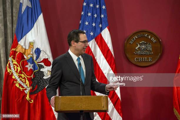 Steven Mnuchin US Treasury secretary speaks during a press conference with Felipe Larrain Chile's finance minister not pictured at La Moneda Palace...