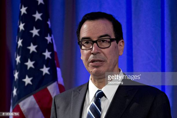 Steven Mnuchin US Treasury secretary speaks during a reception and luncheon ahead of the USChina Comprehensive Economic Dialogue in Washington DC US...