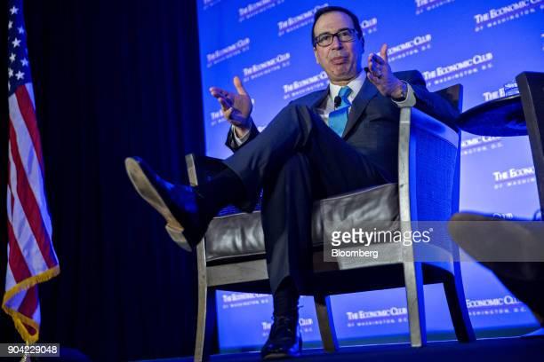 Steven Mnuchin US Treasury secretary speaks during an Economic Club of Washington conversation in Washington DC US on Friday Jan 12 2018 Mnuchin said...