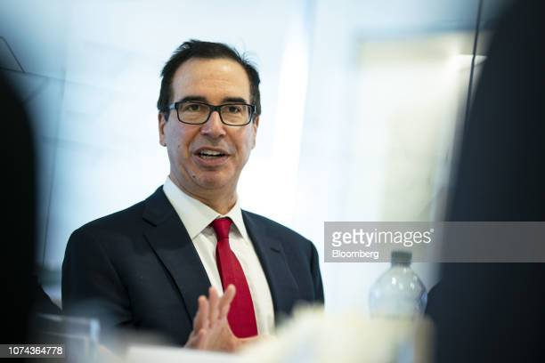 Steven Mnuchin US Treasury secretary speaks during an interview in Washington DC US on Tuesday Dec 18 2018 The White House signaled a possible way...
