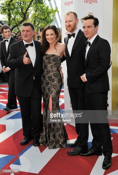 Steven Moffat Lara Pulver Mark Gatiss and Andrew Scott arrive at the Arqiva British Academy Television Awards 2012 at Royal Festival Hall on May 27...