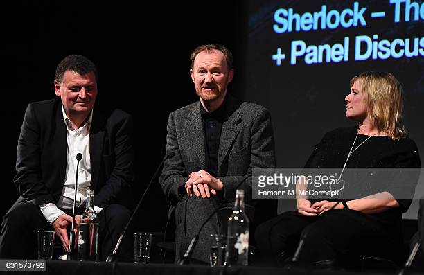 Steven Moffat Mark Gatiss and Sue Vertue during QA for episode three preview screening of Sherlock at BFI Southbank on January 12 2017 in London...