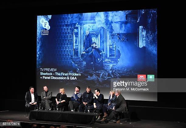 Steven Moffat Mark Gatiss Sue Vertue Benjamin Caron Rupert Graves Andrew Scott and Sian Brooke during QA for episode three preview screening of...
